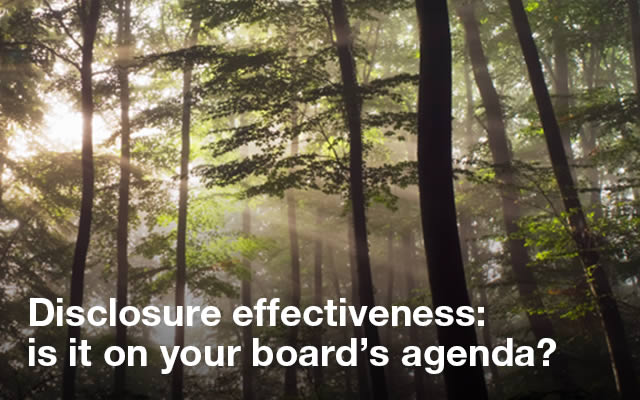 Disclosure effectiveness: is it on your board's agenda?